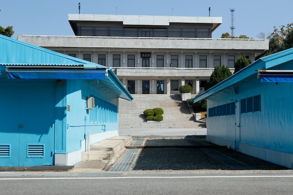 "Conference row ""blue buildings"" at the Joint Security Area that are the point of conversation between North Korea and South Korea."