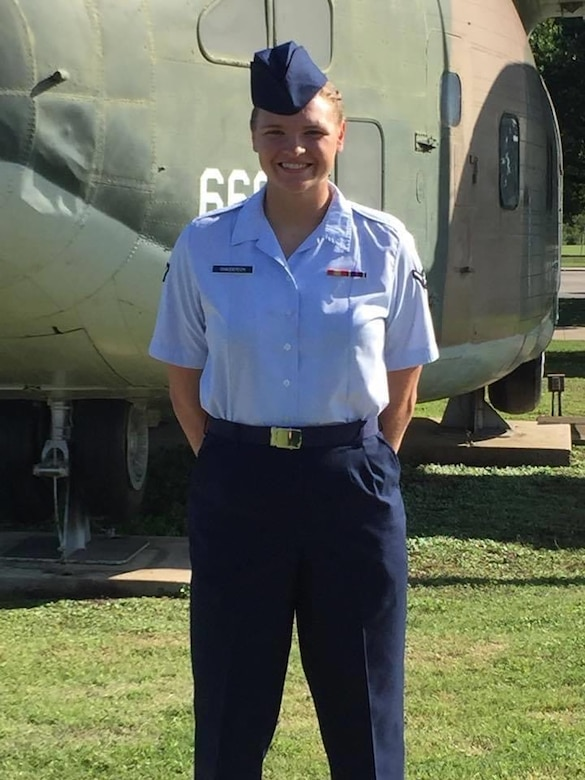 U.S. Air Force Airman Madison Chadderdon poses for a photograph after graduating from basic military training in San Antonio, Texas, Oct. 12, 2018.