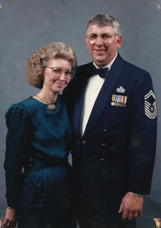 Chief Master Sgt. John Konietzko (ret) poses for a photo with his wife, Kay at a formal military event. (Courtesy Photo)