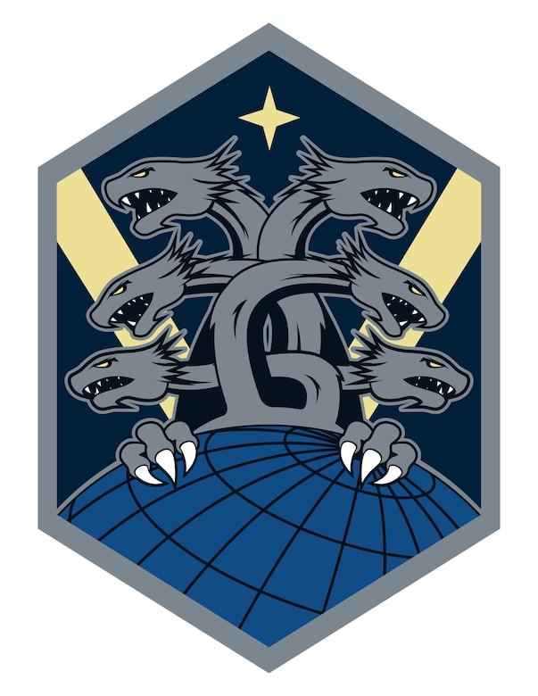 Six-headed hydra emblem.