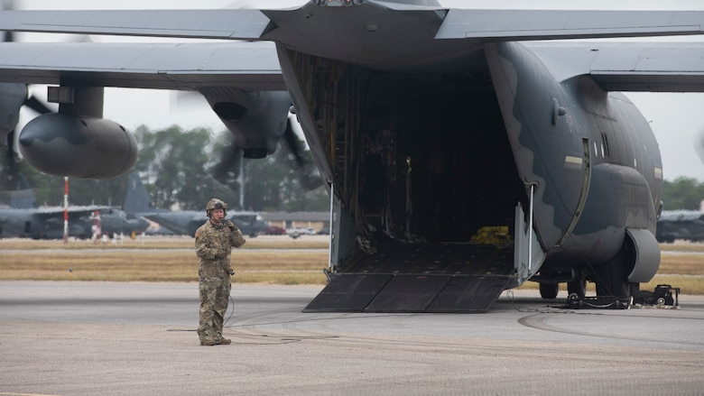 A loadmaster assigned to the 9th Special Operations Squadron communicates with aircrew members on an MC-130J Commando II during Agile Flag 21-1 at Hurlburt Field, Florida, Oct. 27, 2020.