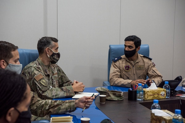 U.S. Air Force Tech. Sgt. Chase Beck, U.S. Air Forces Central Tactical Air Control Party specialist, gives a brief about his career field to Qatar Emiri Air Force members at Al Udied Air Base, Qatar, Oct. 22, 2020.