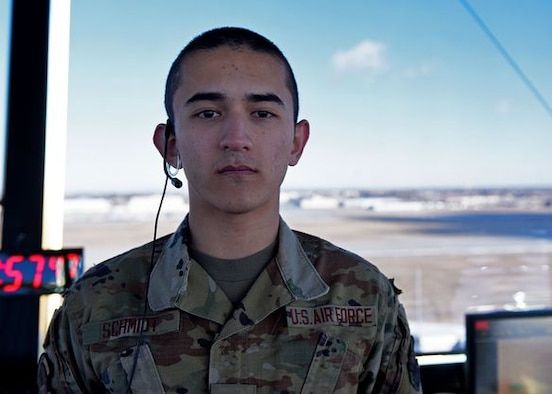 Airman 1st Class John Schmidt is an air traffic control apprentice with the 5th Operational Support Squadron. He works with his supervisors to learn how to effectively direct B-52s in their daily operations.