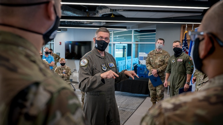 The two finalists from the S3 event progressed on to represent AFGSC and pitch their ideas at the 2021 Air Force Spark Tank competition. (U.S. Air Force photo by Staff Sgt. Philip Bryant)