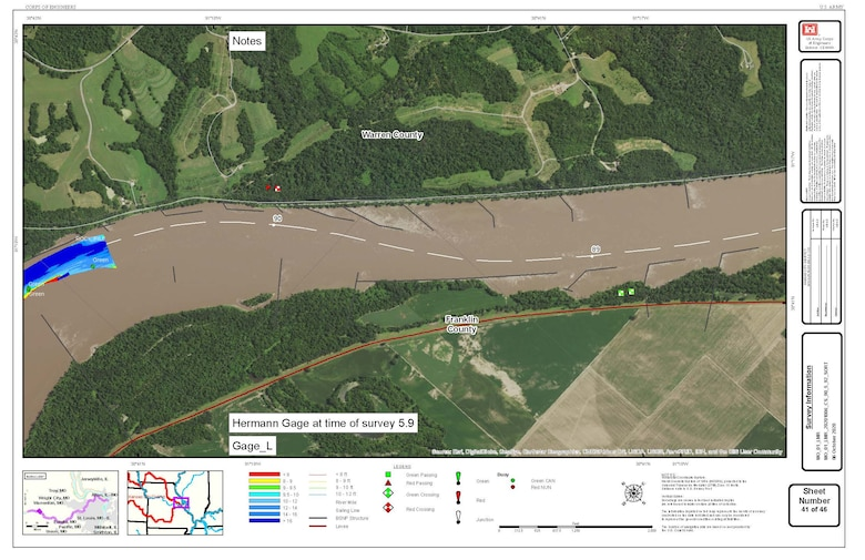 """Example of survey results on Missouri River chart compiled on Oct. 6, 2020 and available at https://www.nwk.usace.army.mil/Missions/Civil-Works/Navigation/ [on the right hand side, scroll down the screen]. The surveys are also emailed out to navigators on a distribution list for the daily boat reports. Each survey is titled as to the portion of the river that was surveyed.  You can also put a shortcut on your phone to a web app at: www.nwk.usace.army.mil/navigation which gives shortcuts to the most-use reports relating to the river and our reservoirs including a link to the most recent surveys. Both Apple and Android have our downloadable app for phones or other mobile devices at the appropriate app store. Searc¬h for """"USACE Kansas City District""""."""