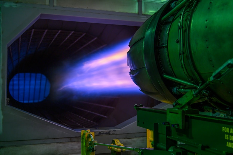 An F-16 Fighting Falcon engine runs at full afterburner at Misawa Air Force Base, Japan, Sept. 29, 2020. The 35th Maintenance Squadron aerospace propulsion test cell Airmen are the last line of defense before an engine goes back into an aircraft, ensuring F-16 engine units are safe and ready for flight. (U.S. Air Force photo by Airman 1st Class China M. Shock)