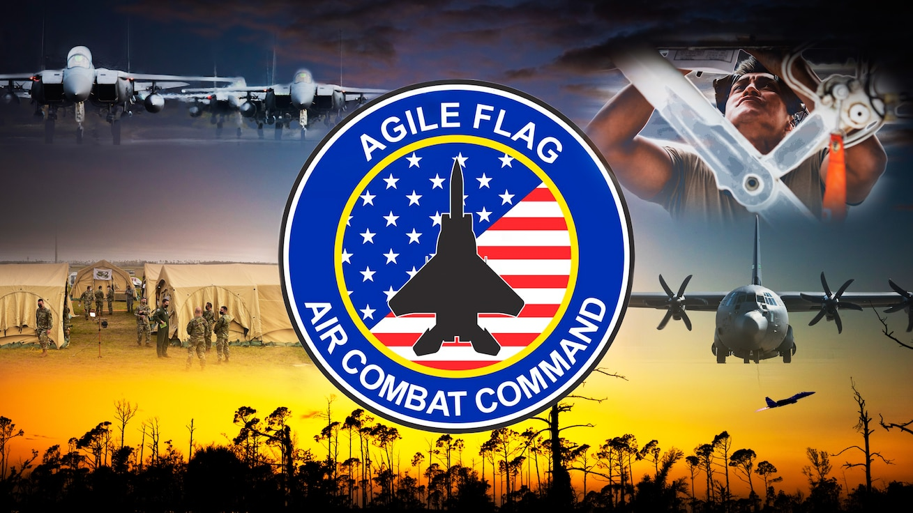 U.S. Air Force graphic depicts imagery captured during Agile Flag 21-1 at Tyndall Air Force Base