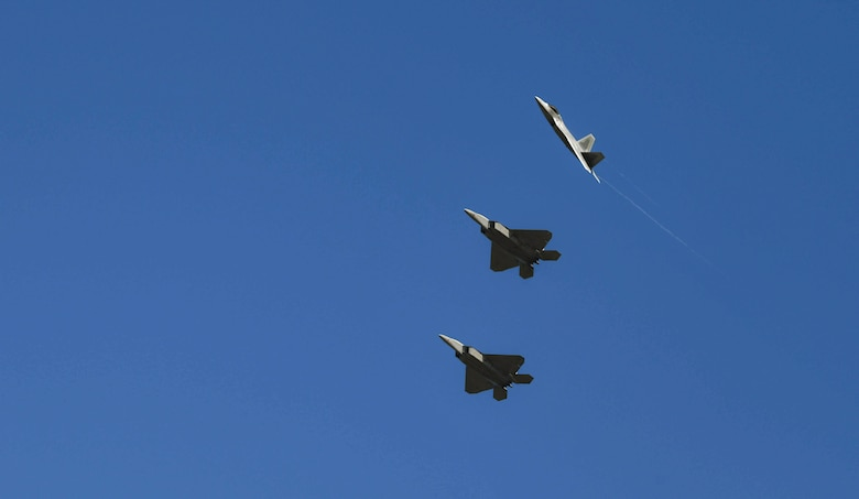 F-22 Raptors from Joint Base Elmendorf-Richardson, Alaska, fly over Tyndall Air Force Base, Florida, Oct. 30, 2020. JBER sent some of it's F-22s to participate in Checkered Flag 21-1, one of the largest air-to-air combat exercises in the Department of Defense. (U.S. Air Force photo by Amn Anabel Del Valle