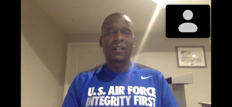 Screen shot of retired Chief Master Sergeant Juan Lewis speaking virtually to 18th Air Force staff