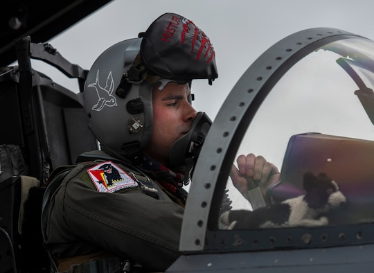 A U.S. Air Force pilot assigned to the 494th Fighter Squadron prepares to depart Royal Air Force Lakenheath, England, to Aalborg Air Base, Denmark, Oct. 30, 2020. Agile combat employment within the Baltic airspace and surrounding nations is key to regional defense and stability. Collective training events enhance the ability of NATO forces to work together effectively to fight from varying locations and respond to any threats. (U.S. Air Force photo by Airman 1st Class Jessi Monte)