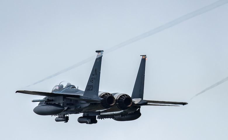 An F-15E Strike Eagle assigned to the 494th Fighter Squadron takes off from Royal Air Force Lakenheath, England, to Aalborg Air Base, Denmark, Oct. 30, 2020. Agile combat employment within the Baltic airspace and surrounding nations is key to regional defense and stability. Collective training events enhance the ability of NATO forces to work together effectively to fight from varying locations and respond to any threats. (U.S. Air Force photo by Airman 1st Class Jessi Monte)