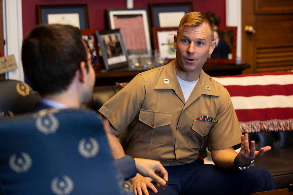 Captain Benjamin P. Broadmeadow, a second tour judge advocate, is an Office of Legislative Affairs Congressional Fellow with Representative Jackie Speier. As unrestricted line officers, Marine Corps judge advocates are able to expand their legal and professional experience in a wide variety of second tour assignments. (U.S. Marine Corps photo by Lance Cpl. Phuchung Nguyen)