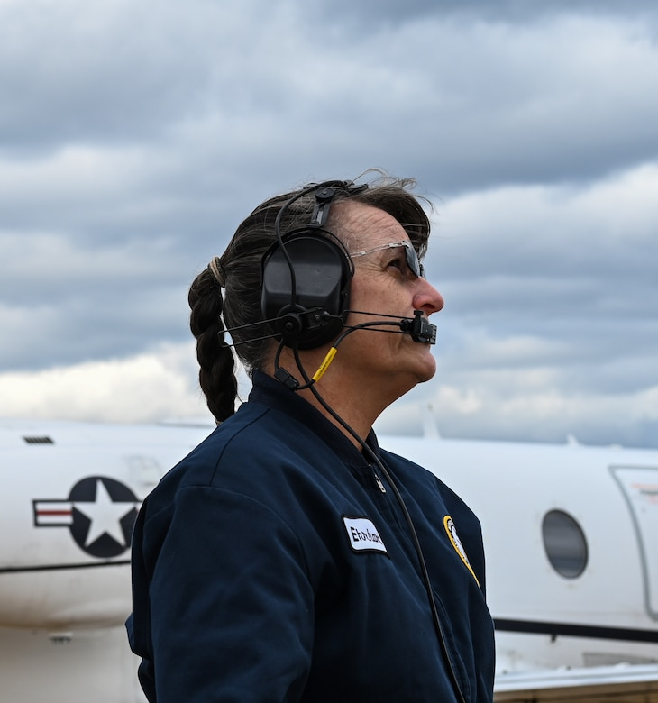 Jackie Ehrhart, M1 Support Services T-1A Jayhawk mechanic, inspects a horizontal stabilizer on Oct. 29, 2020, at Columbus Air Force Base, Miss. The T-1A is a medium-range, twin-engine jet trainer used in the advanced phase of specialized undergraduate pilot training for students selected to fly airlift or tanker aircraft. (U.S. Air Force photo by Airman 1st Class Davis Donaldson)