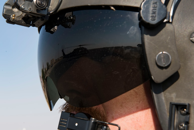 U.S. Army Sgt. James Hughes, Golf Company, 1st Battalion, 137th Aviation Regiment, 28th Expeditionary Combat Aviation Brigade flight medic, monitors a UH-60 Black Hawk helicopter prior to take-off at Ali Al Salem Air Base, Kuwait, Oct. 27, 2020.
