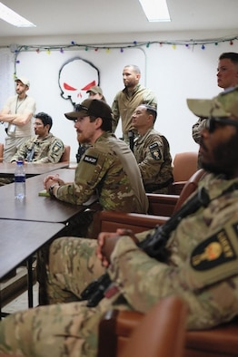 Members of OSI Expeditionary Detachment 2413, Task Force Black, receive their final operations briefing prior to the unit's End of Mission Oct. 28, 2020. (Photo by Ms. Lauren Ashe)