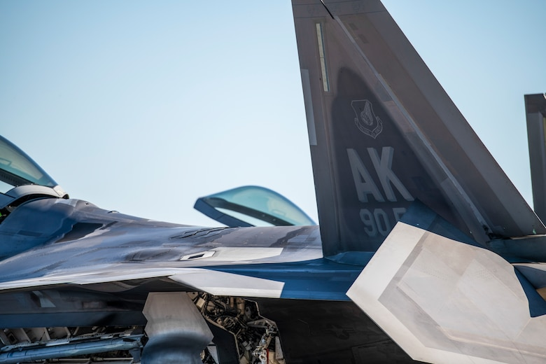 An F-22 Raptor assigned to the 90th Fighter Squadron from Joint Base Elmendorf-Richardson, Alaska, arrives at Tyndall Air Force Base, Florida, Oct. 30, 2020. The Raptor performs both air-to-air and air-to-ground missions allowing full realization of operational concepts vital to the 21st-century Air Force. (U.S. Air Force photo by Airman 1st Class Tiffany Price)