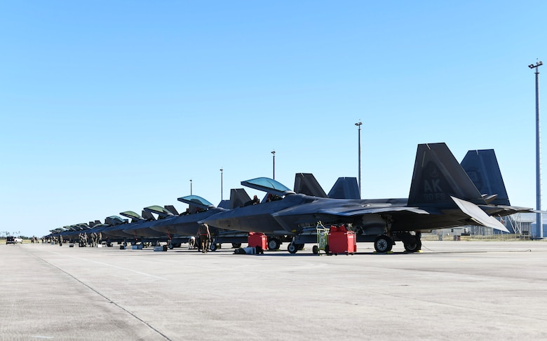 90th Fighter Squadron F-22 Raptors from Joint Base Elmendorf-Richardson, Alaska, undergo post-flight checks at Tyndall Air force Base, Florida, Oct. 30, 2020. JBER sent some of it's F-22s to participate in  Checkered flag 21-1, one of the Department of Defense's largest air-to-air exercises. (U.S. Air force photo by Amn Anabel Del Valle)