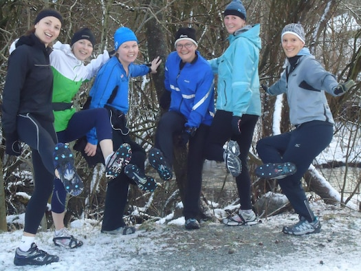 Running group in winter.