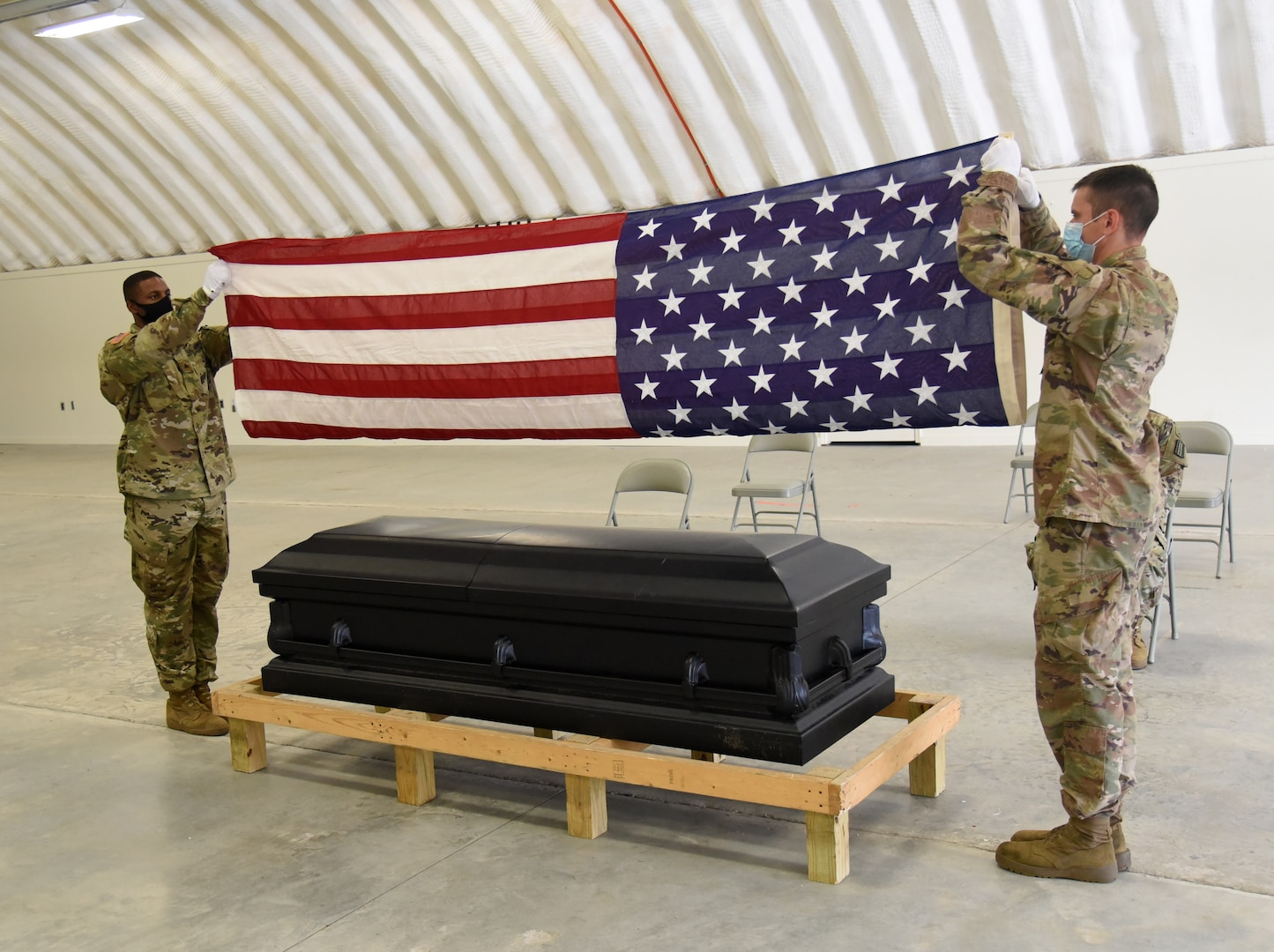 Virginia National Guard Soldiers assigned to the VNG Military Funeral Honors Program conduct a training session Oct. 22, 2020, at the State Military Reservation in Virginia Beach, Virginia.