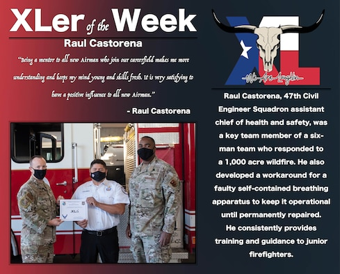 """Raul Castorena, 47th Civil Engineer Squadron assistant chief of health and safety, was chosen by wing leadership to be the """"XLer of the Week"""", the week of Oct. 4, 2020, at Laughlin Air Force Base, Texas. The """"XLer"""" award, presented by Col. Craig Prather, 47th Flying Training Wing commander, and Chief Master Sgt. Robert L. Zackery III, 47th FTW command chief master sergeant, is given to those who consistently make outstanding contributions to their unit and the Laughlin mission. (U.S. Air Force Graphic by Airman 1st Class David Phaff)"""