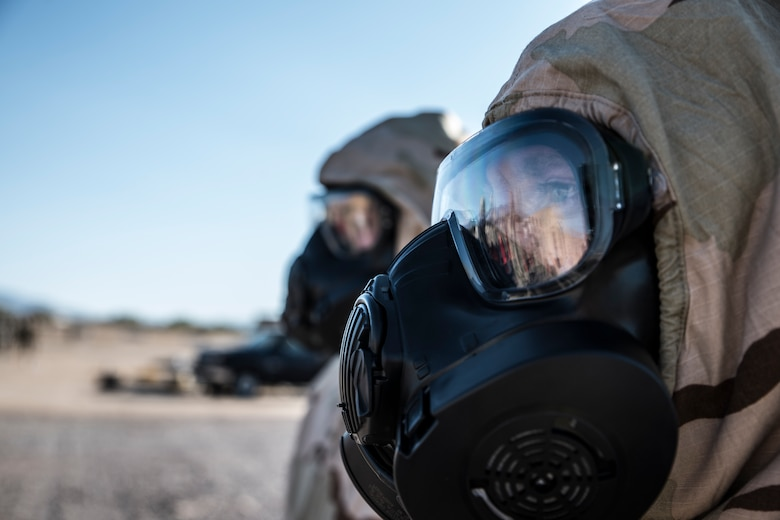 A photo of Airmen doing CBRNE training