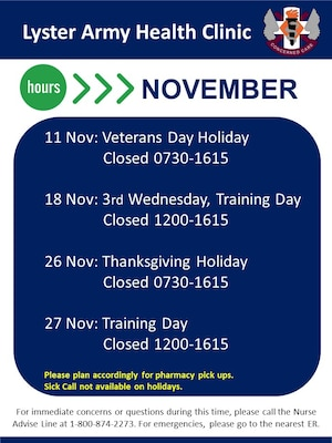 November Holiday Hours
