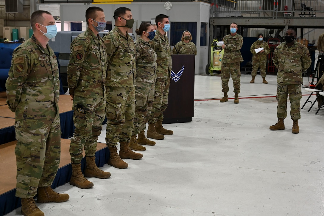 U.S. Air Force Chief Master Sgt. Maurice Williams, command chief master sergeant of the Air National Guard, recognizes star performers of the 126th Air Refueling Wing at an enlisted all-call during his visit to the wing at Scott Air Force Base, Illinois, Oct. 27, 2020.
