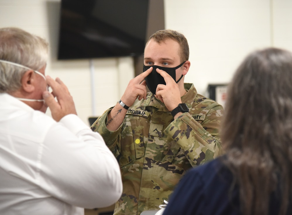 Virginia National Guard Soldiers train civilians from various agencies to conduct N95 respirator mask fit testings Nov. 3, 2020, at Old Dominion EMS Alliance in Henrico County, Virginia.