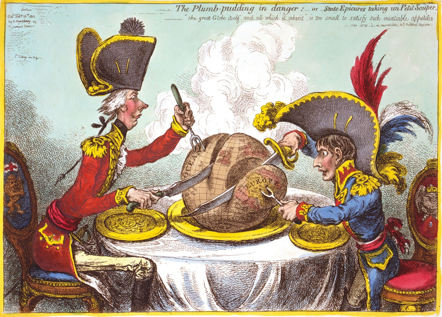 Figure 2.1. Britain (William Pitt) and Napoleon Carving Up the World. Source: James Gillray, The Plumb-Pudding [sic] in Danger (London: H. Humphrey, 1805).