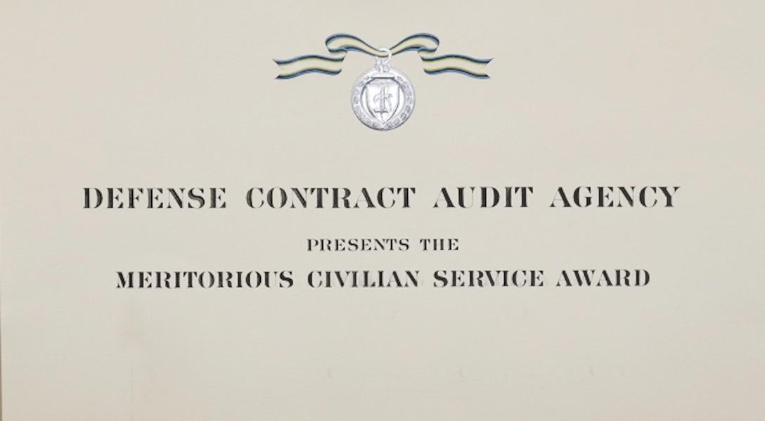 photo of the DCAA meritorious civilian service award