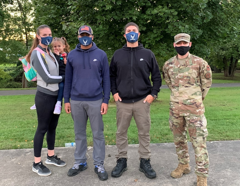 The Jimenez family decided to join the Air Force as a team following difficult circumstances during COVID-19. Richard, second from the left, had started a small business in 2019 and was doing well.