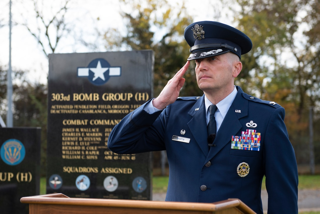 U.S. Air Force Col. Richard Martin, 423rd Air Base Group commander, salutes during a Remembrance Sunday ceremony near the 303rd Bombardment Group memorial monument at RAF Molesworth, England, Nov. 3, 2020. Remembrance Sunday is commemorated the second Sunday every November to honor the service and sacrifice of Armed Forces, British and Commonwealth veterans, as well as the Allies that fought alongside them in the two World Wars and later conflicts. (U.S. Air Force photo by Senior Airman Jennifer Zima)