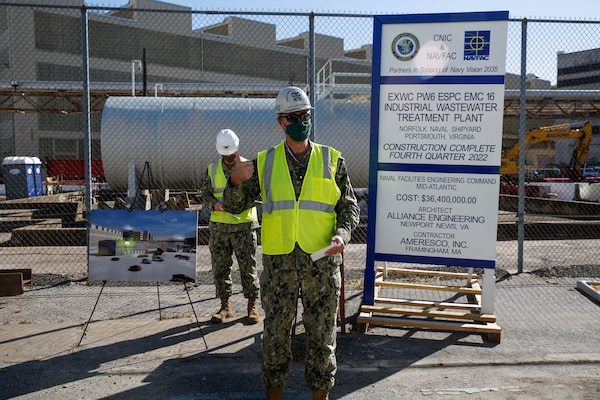 Commander, Norfolk Naval Shipyard (NNSY), RDML Howard Markle, addressed contractors and the NNSY workforce during a groundbreaking ceremony for a new Industrial Wastewater Treatment Plant (IWTP) Nov. 4. The IWTP is part of an Energy Savings Performance Contract (ESPC) that will provide critical energy and infrastructure upgrades and improve energy efficiency at NNSY. This project is a part of the Shipyard Infrastructure Optimization Program (SIOP), a 20-year, $21 billion program dedicated to completely refurbishing the nation's four public shipyards by modernizing equipment, improving workflow and upgrading dry docks and facilities.