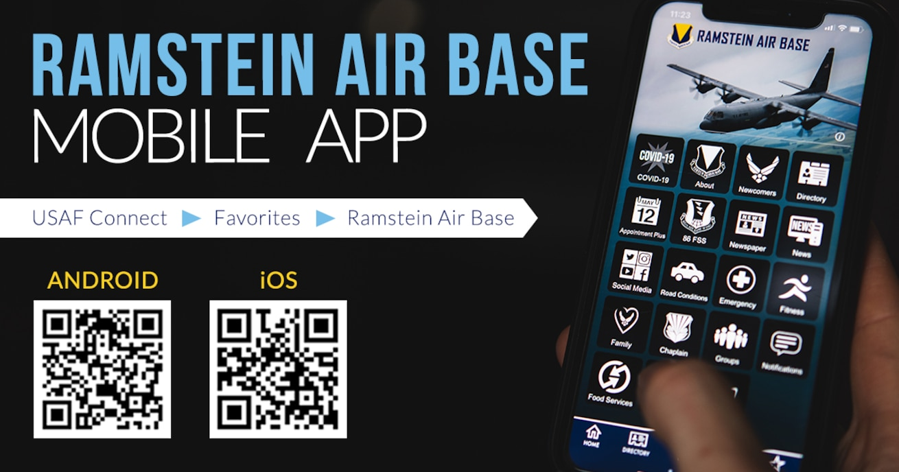 Graphic advertising Ramstein Air Base mobile app