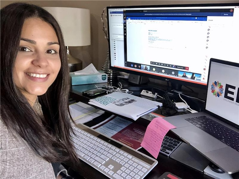 Mariely Mejas-Santiago of the Geotechnical and Structures Laboratory poses with her computer between sessions during RD20, a virtual collaborative event that was hosted Oct. 27-30 by the U.S. Army Engineer Research and Development Center. More than 755 people attended the four-day, online event.