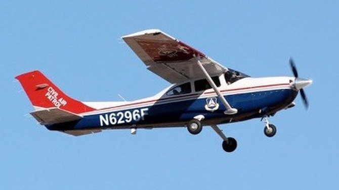 A CAP Louisiana Wing airplane returns from a photo mission.