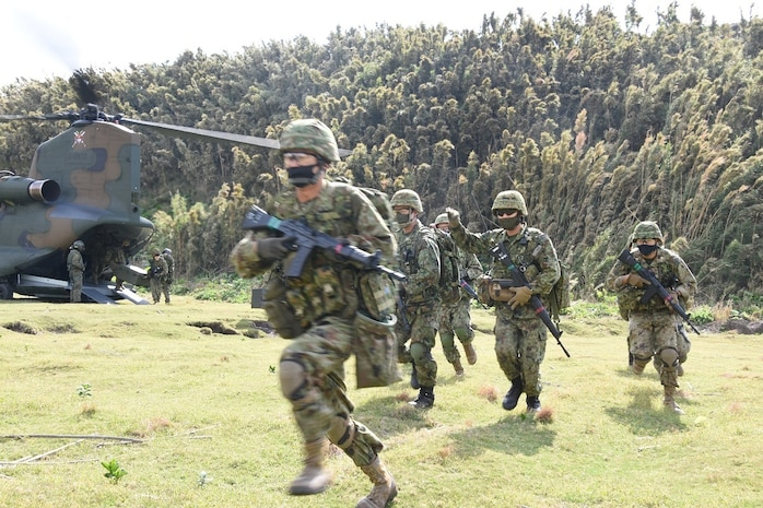 U.S. Marines teamed up with Japan's Amphibious Rapid Deployment Brigade to conduct an amphibious assault on Gaja-Jima, a small uninhabited island off the coast of mainland Japan, as part of Keen Sword, Nov. 1, 2020.