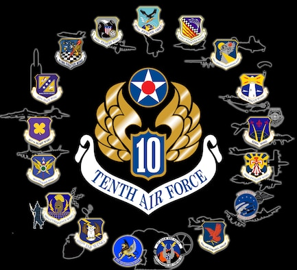 A graphic with the Tenth Air Force shield in the center and the patches of all subordinate units with a silhouette representing their missions.