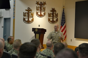190513-N-CB398-006 NEWPORT, R.I. (May 13, 2019) Master Chief Petty Officer of the Navy Russell Smith speaks to students of U.S. Navy Senior Enlisted Academy (SEA), class 223, onboard Naval Station Newport, Rhode Island, May 13. The SEA is the Navy's only professional military education institution dedicated to senior enlisted personnel that develops agile, adaptive military professionals who inspire their teams to perform at higher levels. (U.S. Navy photo by Mass Communication Specialist 2nd Class Zachary Allan)