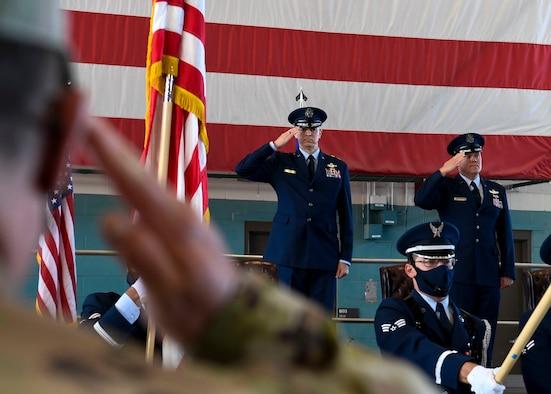 U.S. Air Force Maj. Gen. Craig D. Wills, 19th Air Force commander, salutes.