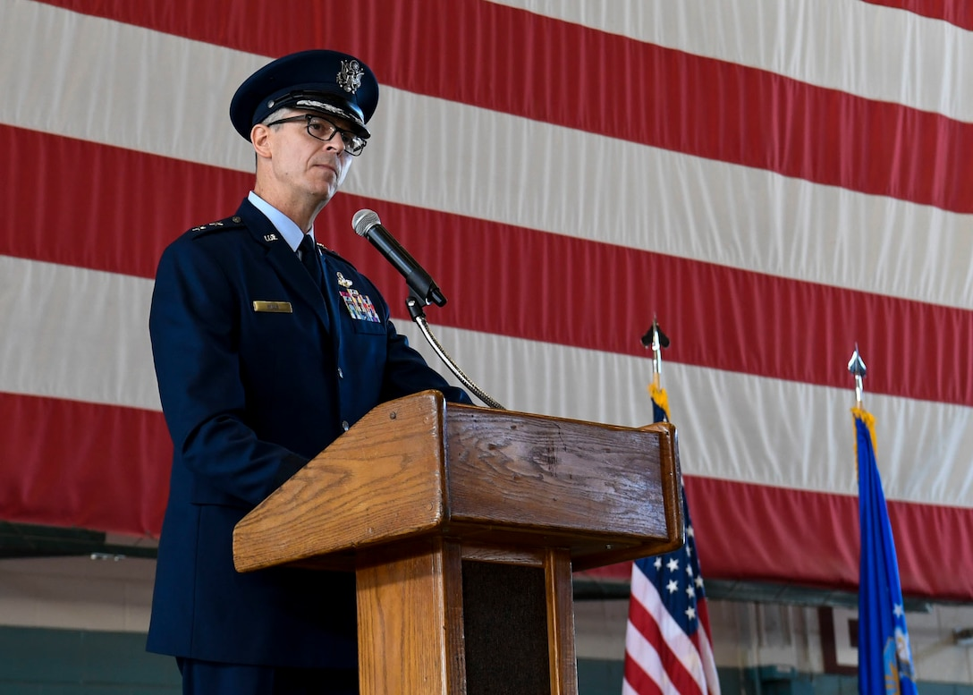 U.S. Air Force Maj. Gen. Craig D. Wills, 19th Air Force commander, speaks during a ceremony.