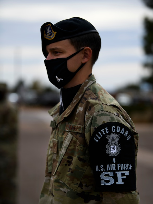 21st SFS member stands at attention