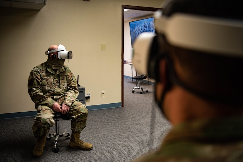 U.S. Air force Col. Richard A. Goodman, 366th Fighter Wing Commander and U.S. Air Force Col. Jeffery A. Burdette, 366th Fighter Wing Chief of Staff, test the VR headsets on Mountain Home Air Force Base, ID, Nov. 5, 2020. This program is focused on developing training videos for new Airmen who need to learn the basics of launching, recovering and refueling an aircraft. (U.S. Air Force photo by Airman 1st Class Cheyenne Bassham)