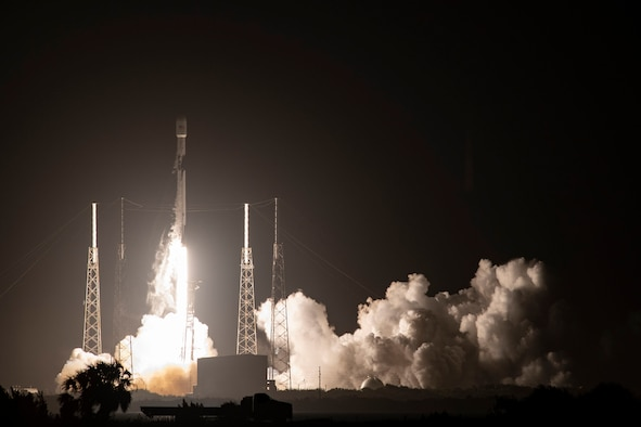 A Falcon 9 carrying GPS III SV04 lifts off from Cape Canaveral Air Force Station, Florida, Nov 5.  The fourth GPS III satellite, it will join the 31 operational satellites currently orbiting the Earth. GPS III brings new capabilities to users, including three times greater accuracy and up to eight times improved anti-jamming capabilities. (Photo courtesy of SpaceX)