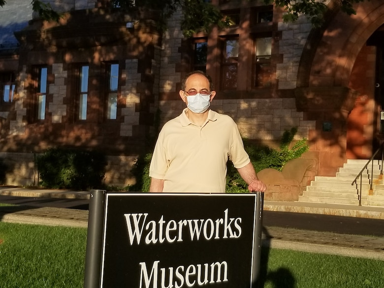 Dr. Igor Linkov, U.S Army Engineer Research and Development Center's Risk and Decision Science Team lead, wears an example of the protective masks being used in the COVID-19 pandemic.