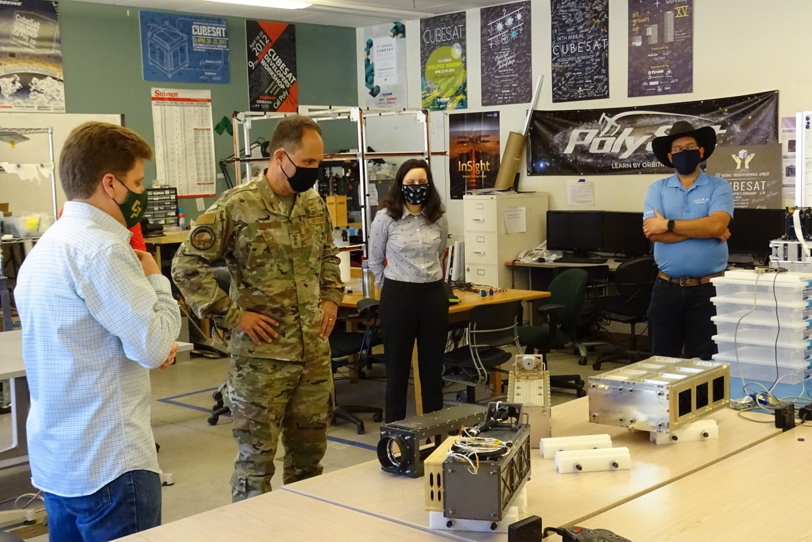 Photo of Maj. Gen. John Shaw visiting Cal Poly CubeSat Lab program.