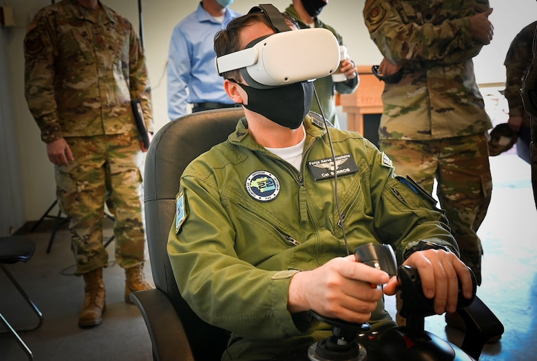 Foreign Liaison Officer uses virtual reality simulator