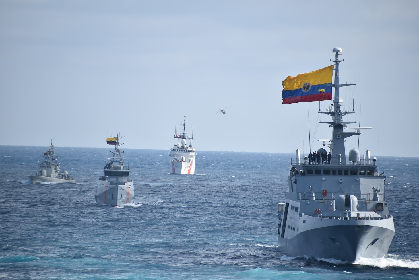 Naval ships from Ecuador, Colombia, Peru and the United States transit in formation during a training exercise for UNITAS LXI in Ecuador.