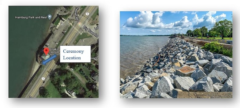 Ceremony Location and completed revetment