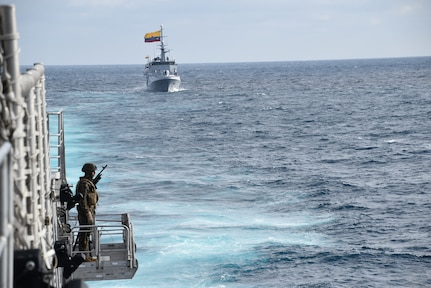 Naval ships from Ecuador, Colombia, Peru and the United States are underway in formation during a training exercise for UNITAS 21.
